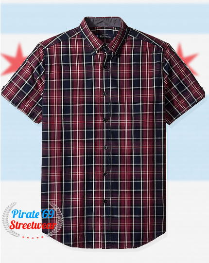 Blue Burgundy Size S-2XL Black Short Sleeve Gingham // Check Shirt