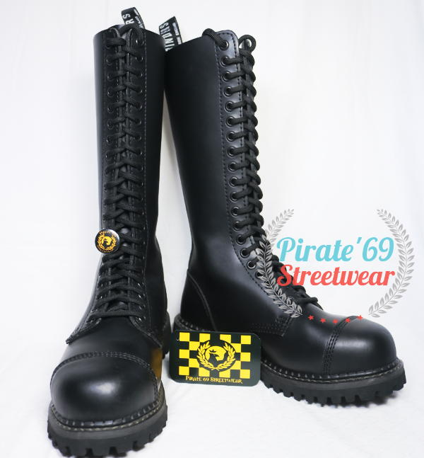 Grinders King Boots Black Leather 20 Hole Safety Cap Knee Combat Boot Punk