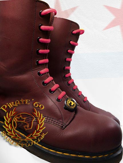 Skinhead crimson boot laces for Dr Martens