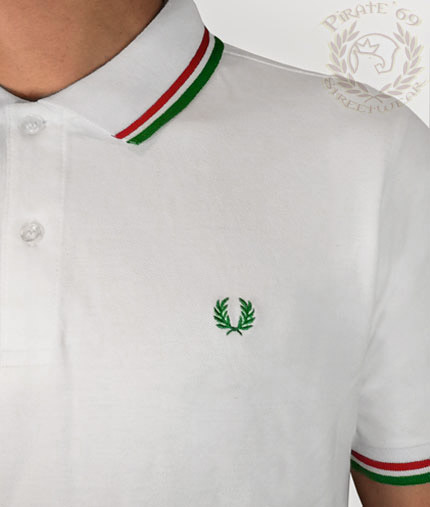 388482dc5c56 New M3600 Slim Fit Twin Tipped Fred Perry polo shirt, white with green and  red piping
