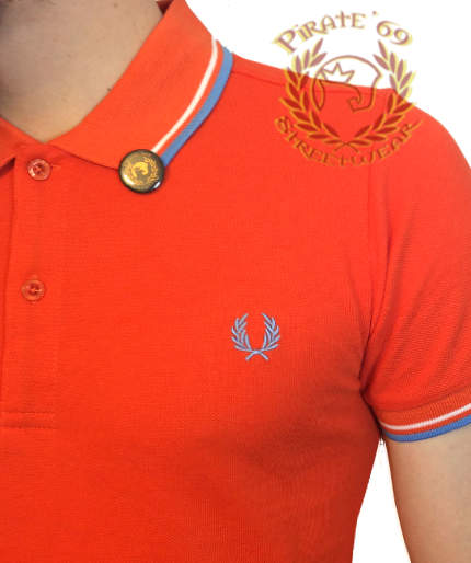 4b8b7d7d8 New SLIM FIT Fred Perry Laurel Wreath Polo Shirt. Orange with White and  Blue trim.