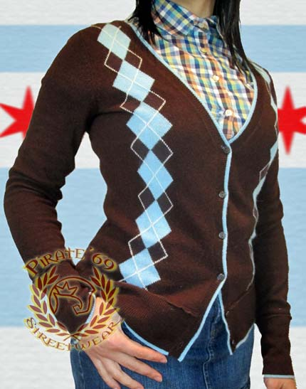 Ben Sherman wool cardigan, Brown with sky blue and white argyle