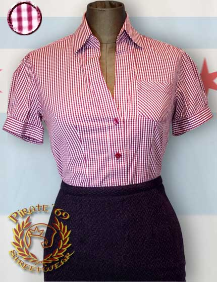 Womens Navy Blue Gingham Shirt