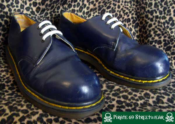 RARE DOUBLE STITCH 1925 Doc Martens NAVY BLUE Steel Toe shoes, MADE IN ENGLAND size uk 7, good condition. $76.96