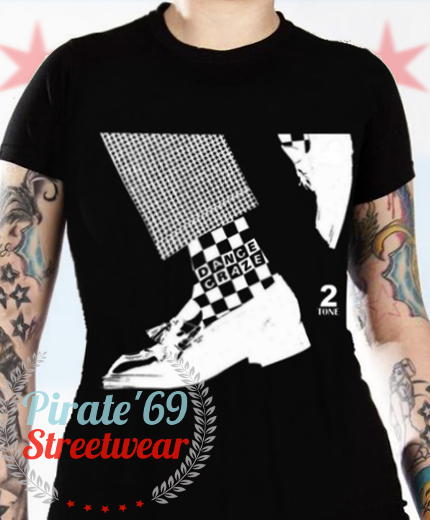 5fb158ab New Womens British Ska Dance Craze 2-Tone T-Shirt, Black with White Print.